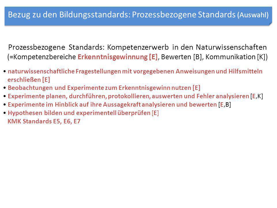 Bezug zu den Bildungsstandards: Prozessbezogene Standards (Auswahl)