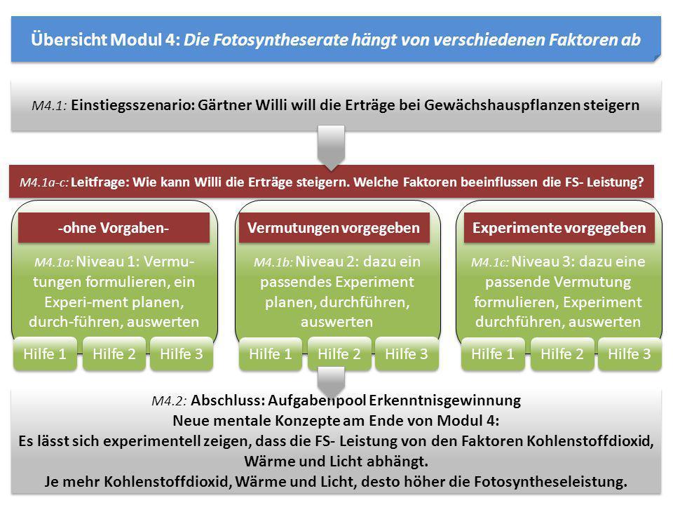Übersicht Modul 4: Die Fotosyntheserate hängt von verschiedenen Faktoren ab