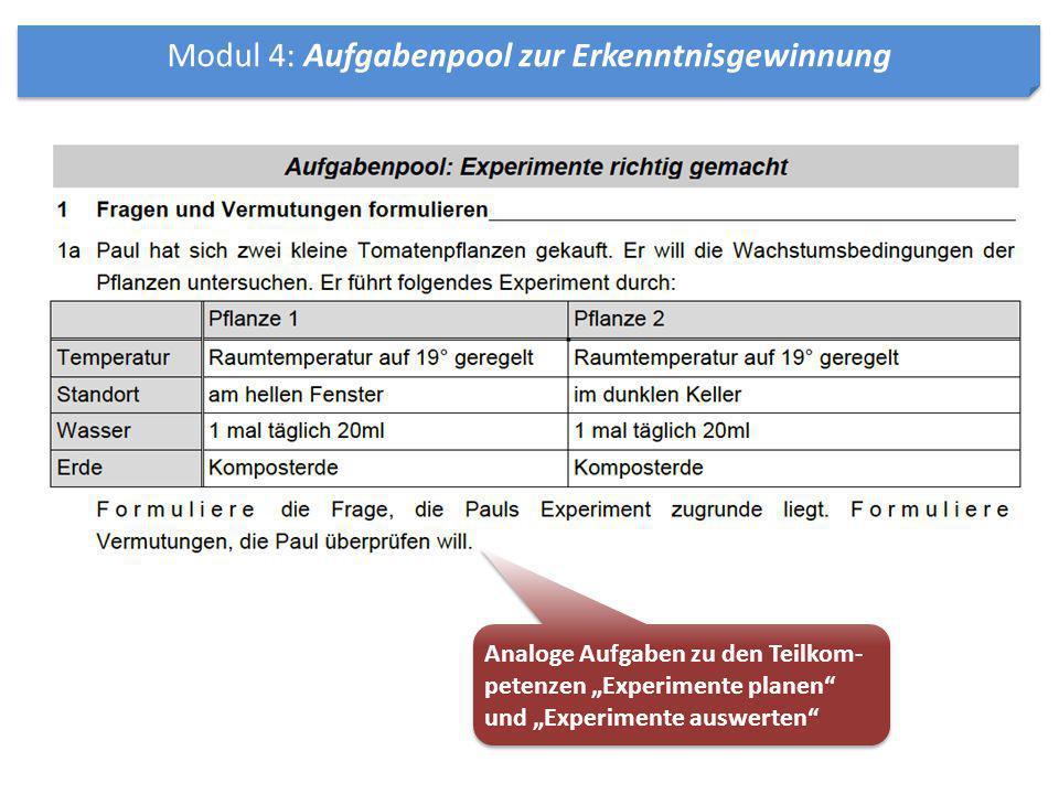 Modul 4: Aufgabenpool zur Erkenntnisgewinnung