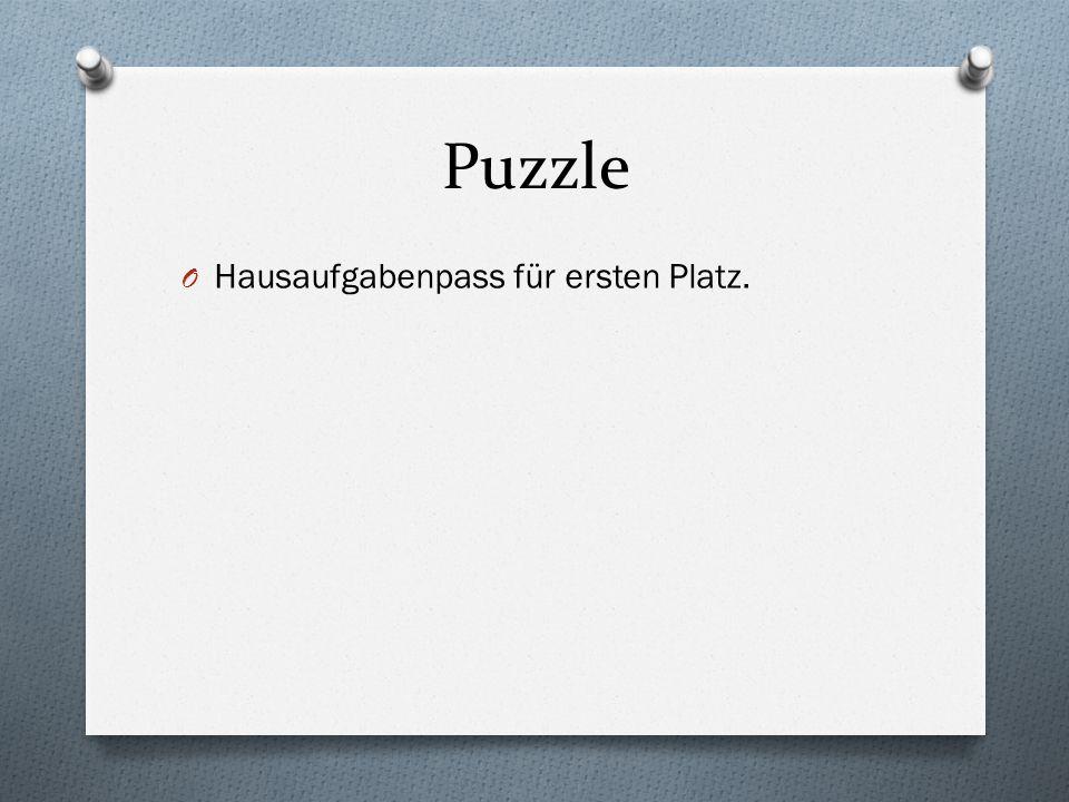 Puzzle Hausaufgabenpass für ersten Platz.