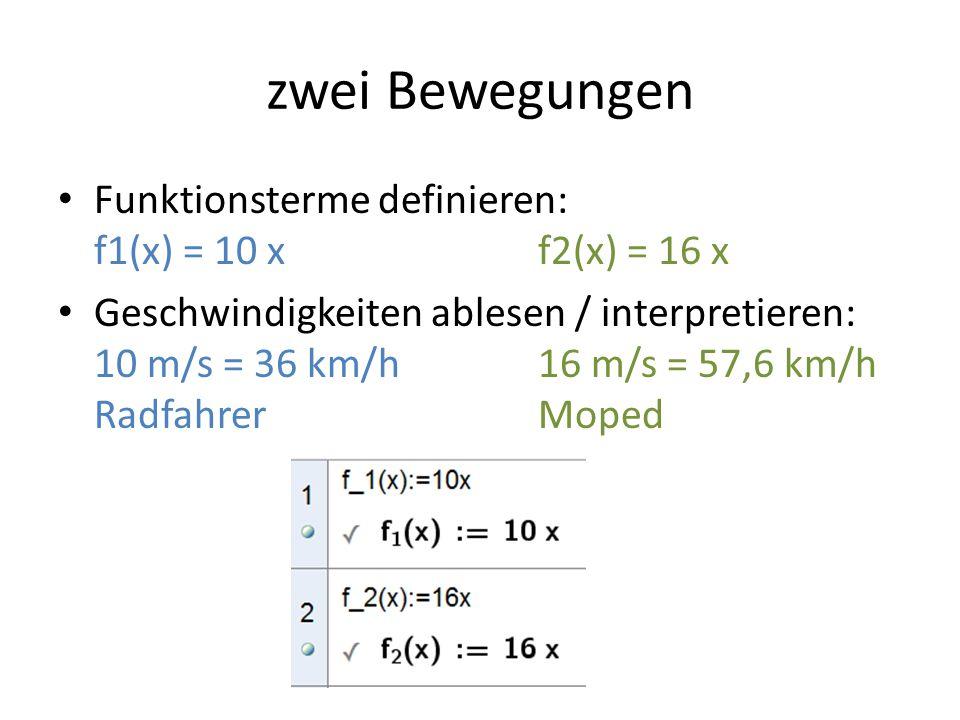zwei Bewegungen Funktionsterme definieren: f1(x) = 10 x f2(x) = 16 x