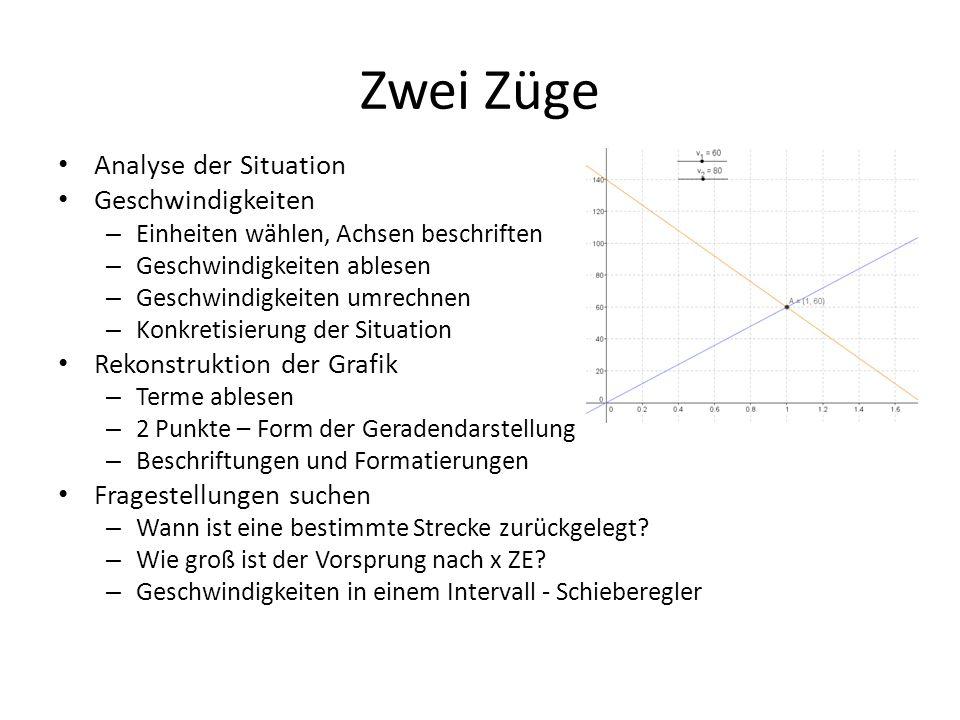 Zwei Züge Analyse der Situation Geschwindigkeiten