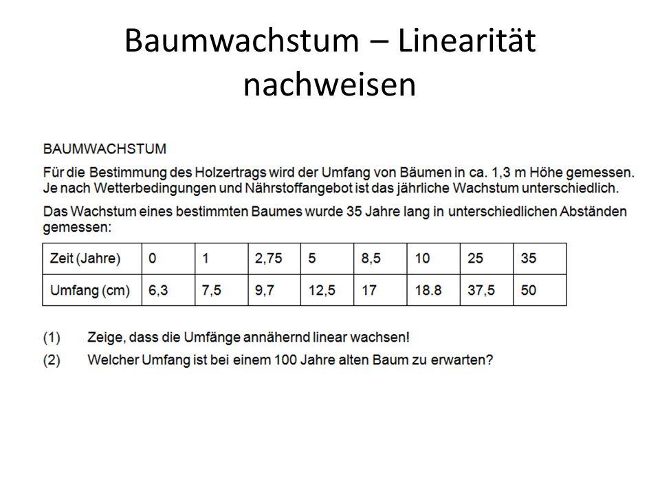 Baumwachstum – Linearität nachweisen