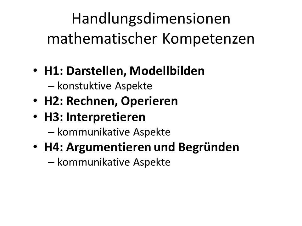Handlungsdimensionen mathematischer Kompetenzen