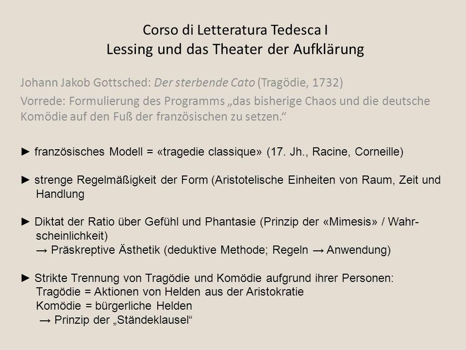 Corso di Letteratura Tedesca I Lessing und das Theater der Aufklärung