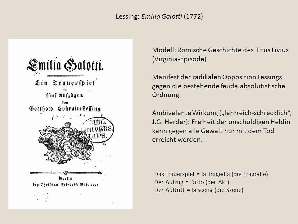 Lessing: Emilia Galotti (1772)
