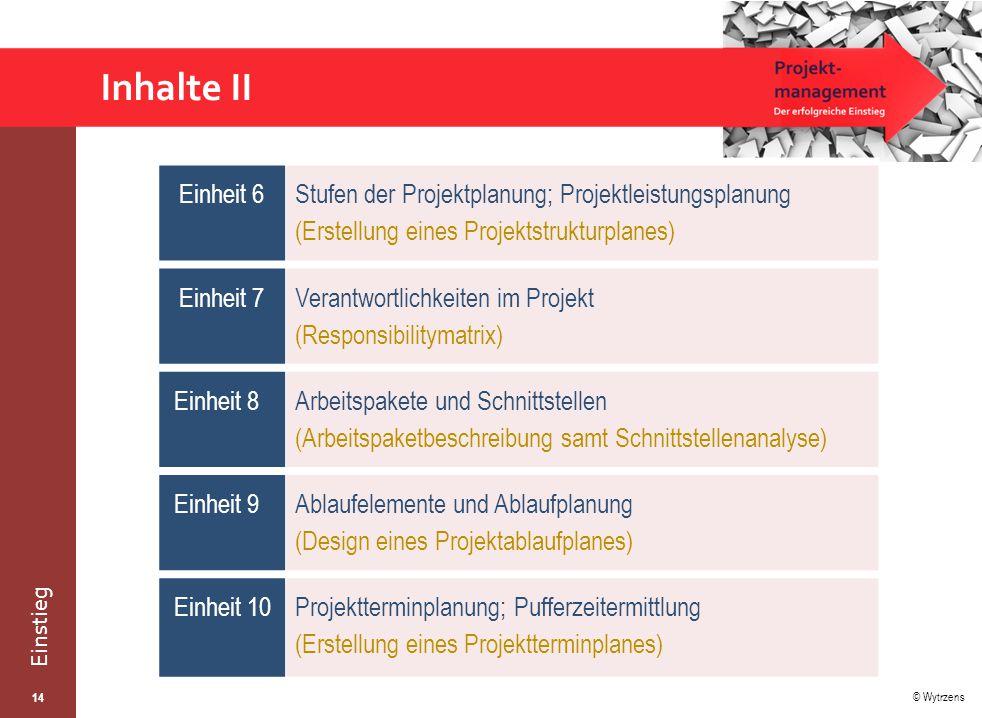 Inhalte II Einheit 6. Stufen der Projektplanung; Projektleistungsplanung (Erstellung eines Projektstrukturplanes)
