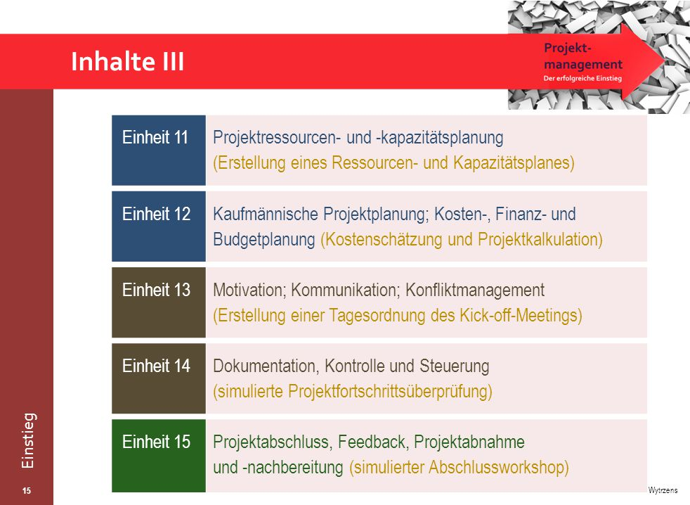 Inhalte III Einheit 11. Projektressourcen- und -kapazitätsplanung (Erstellung eines Ressourcen- und Kapazitätsplanes)