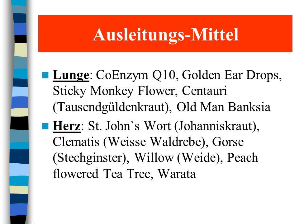 Ausleitungs-Mittel Lunge: CoEnzym Q10, Golden Ear Drops, Sticky Monkey Flower, Centauri (Tausendgüldenkraut), Old Man Banksia.