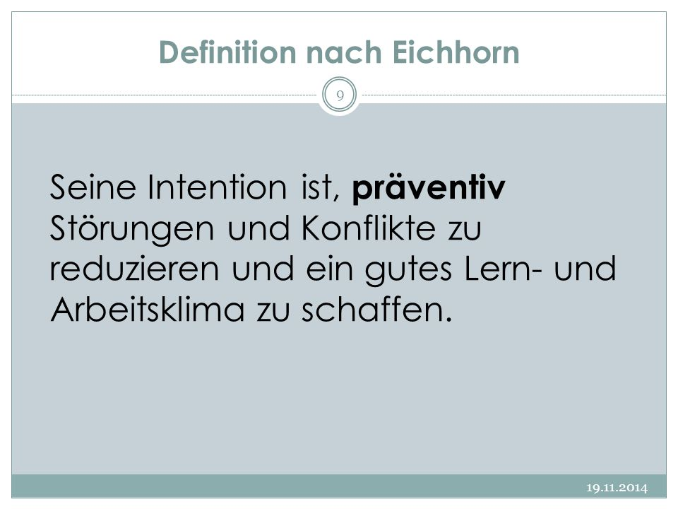 Definition nach Eichhorn