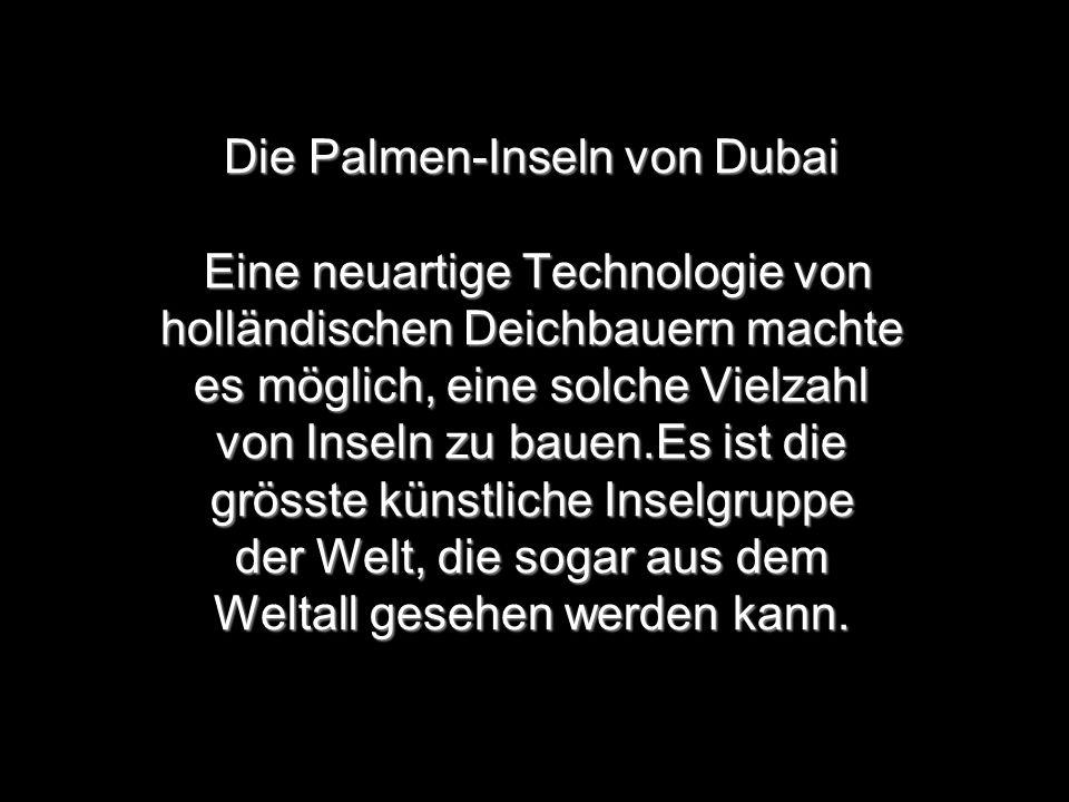 Die Palmen-Inseln von Dubai Eine neuartige Technologie von holländischen Deichbauern machte es möglich, eine solche Vielzahl von Inseln zu bauen.Es ist die grösste künstliche Inselgruppe der Welt, die sogar aus dem Weltall gesehen werden kann.