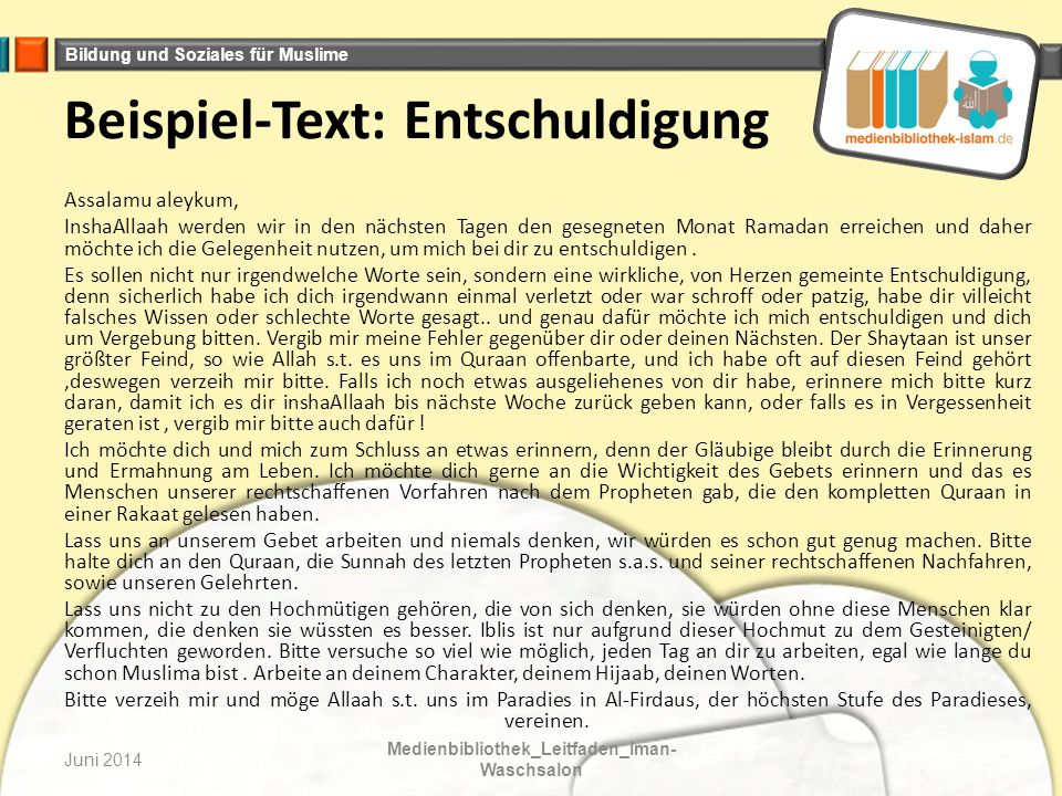 Beispiel-Text: Entschuldigung