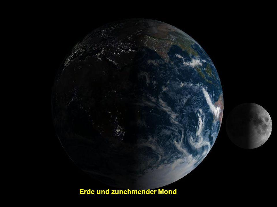 Erde und zunehmender Mond