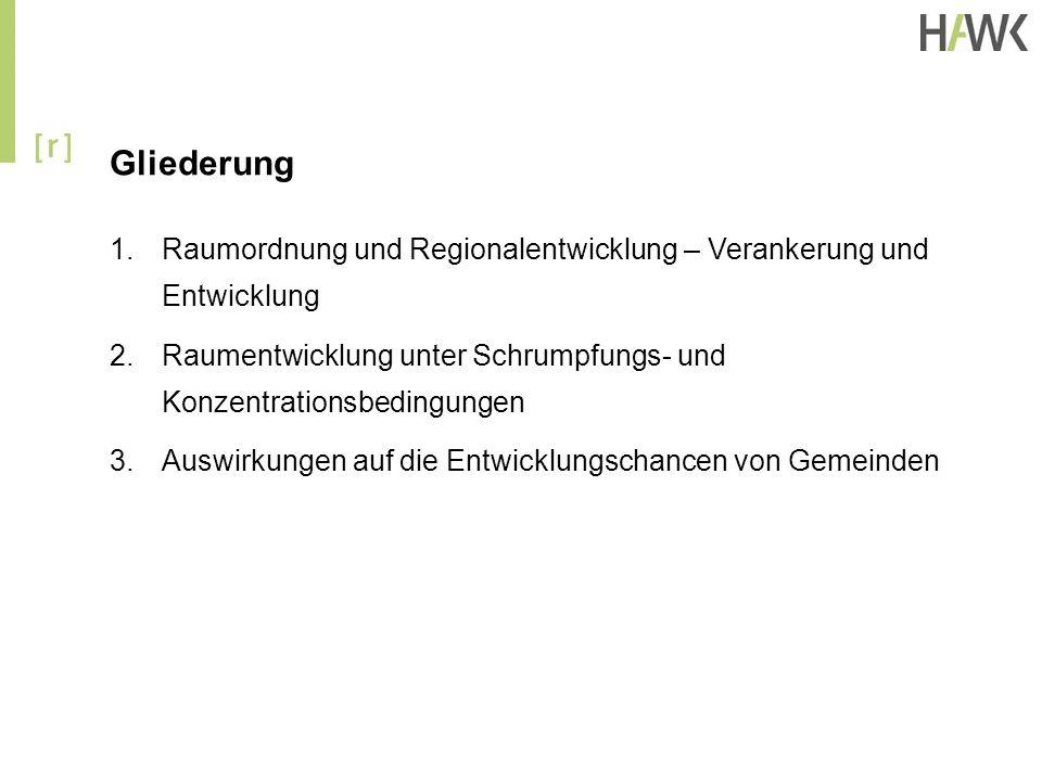 Gliederung Raumordnung und Regionalentwicklung – Verankerung und Entwicklung. Raumentwicklung unter Schrumpfungs- und Konzentrationsbedingungen.