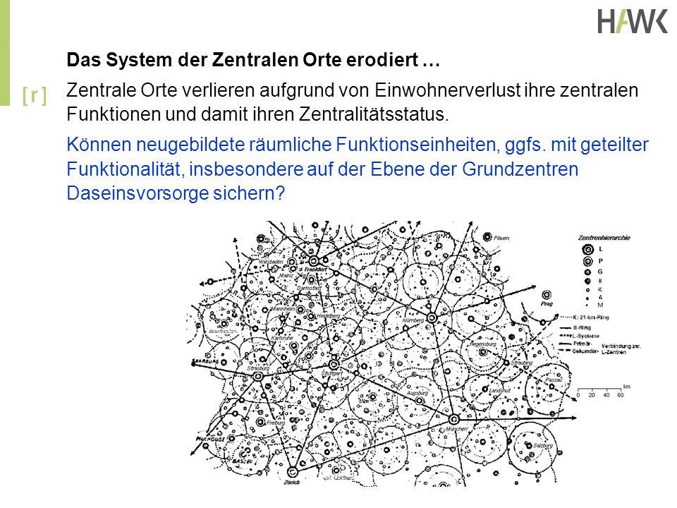 Das System der Zentralen Orte erodiert …