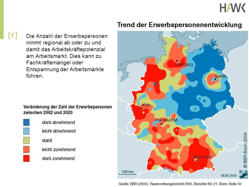 Die Anzahl der Erwerbspersonen nimmt regional ab oder zu und damit das Arbeitskräftepotenzial am Arbeitsmarkt.
