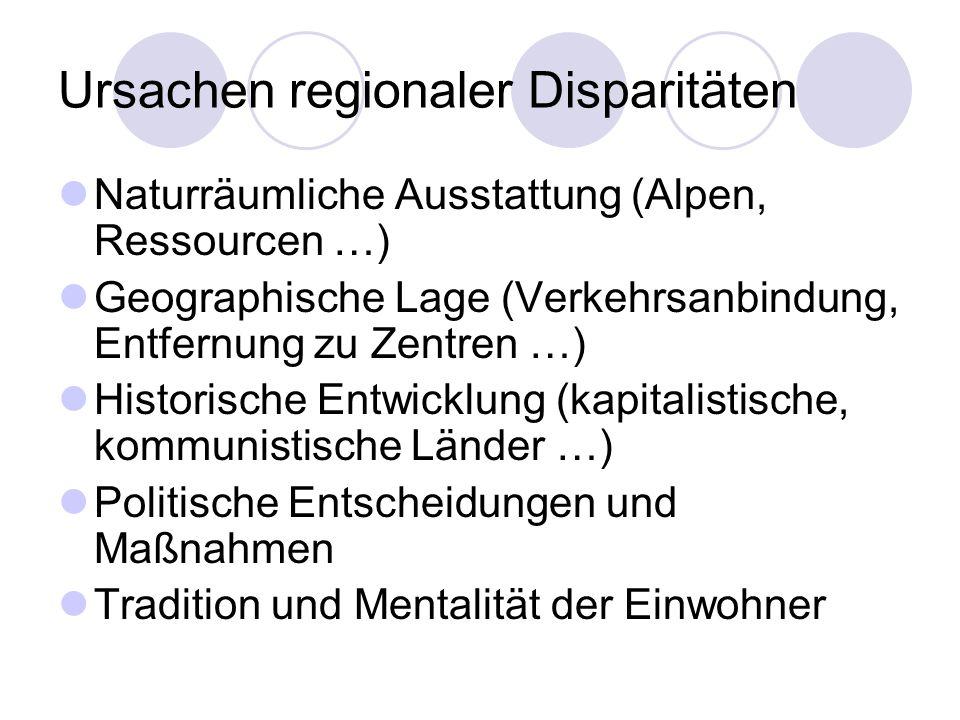 Ursachen regionaler Disparitäten