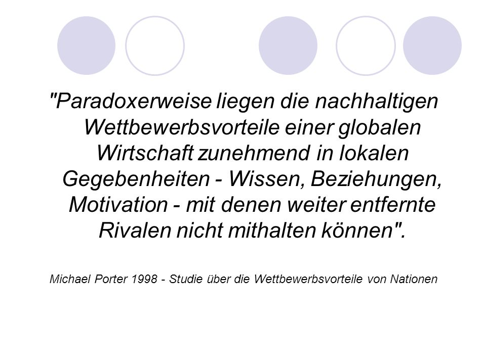 Michael Porter 1998 - Studie über die Wettbewerbsvorteile von Nationen