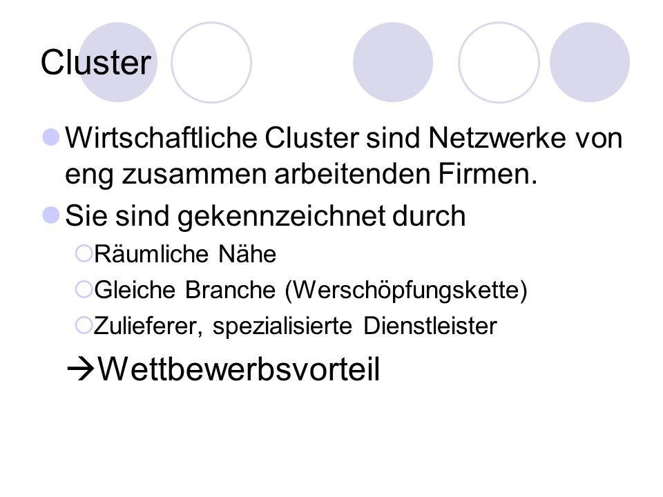 Cluster Wirtschaftliche Cluster sind Netzwerke von eng zusammen arbeitenden Firmen. Sie sind gekennzeichnet durch.