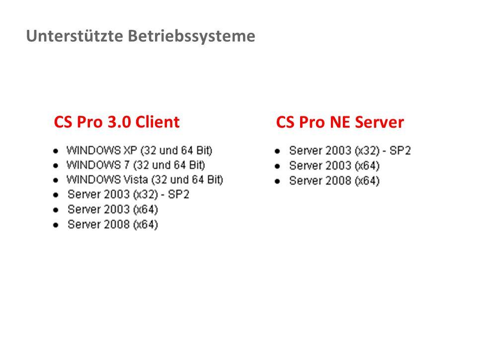 Unterstützte Betriebssysteme