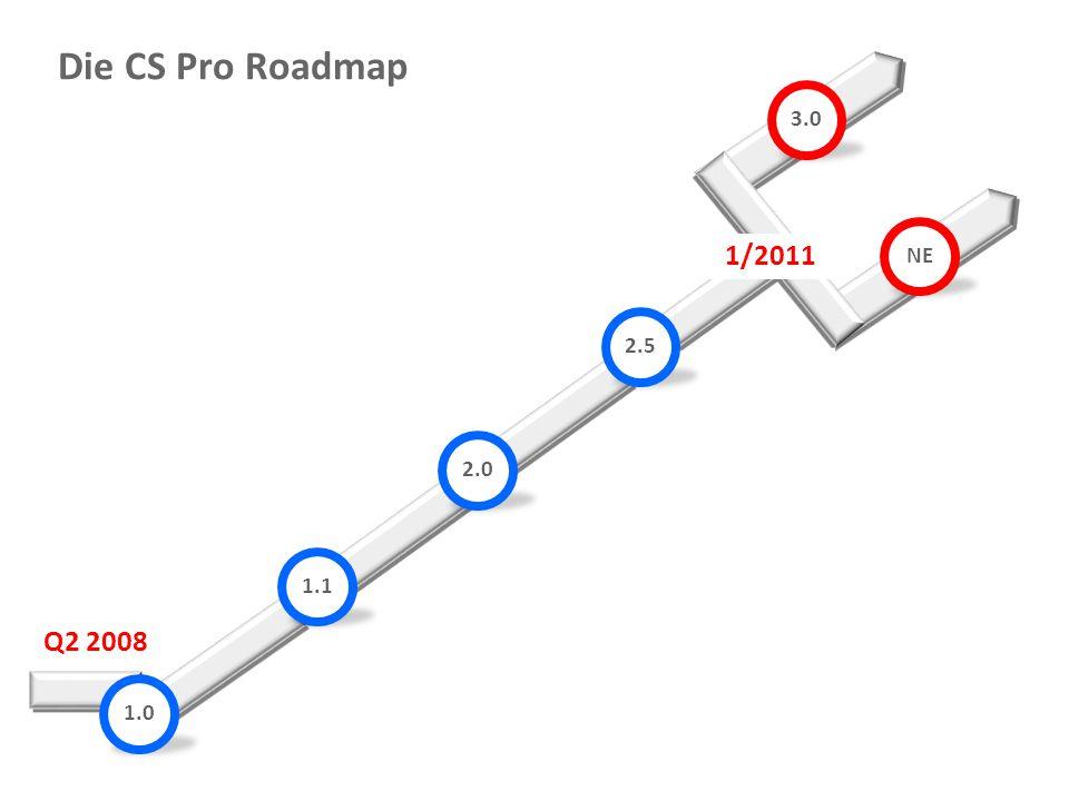Die CS Pro Roadmap 3.0 NE 1/2011 2.5 2.0 1.1 Q2 2008 1.0