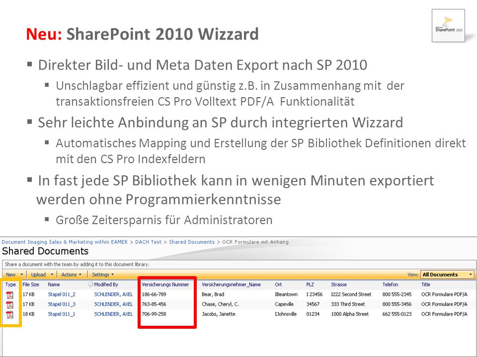 Neu: SharePoint 2010 Wizzard