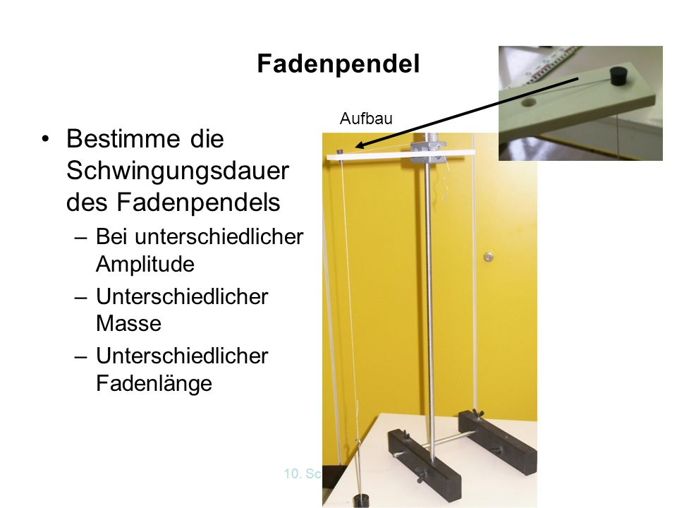 Bestimme die Schwingungsdauer des Fadenpendels