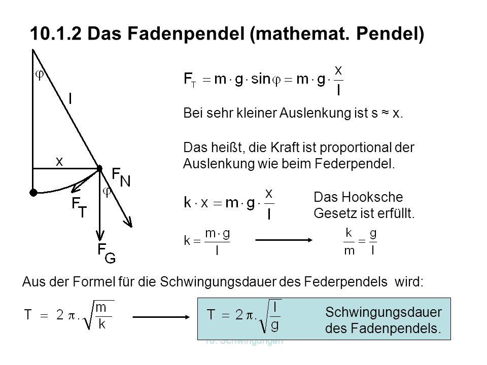 10.1.2 Das Fadenpendel (mathemat. Pendel)