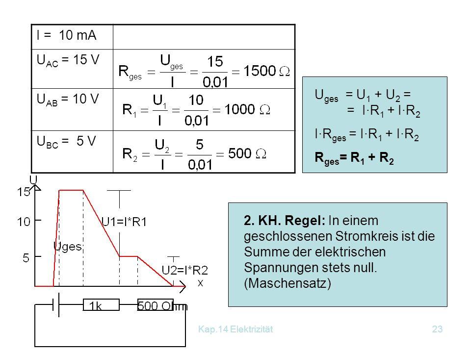 I = 10 mA UAC = 15 V. UAB = 10 V. UBC = 5 V. Uges = U1 + U2 = = I∙R1 + I∙R2. I∙Rges = I∙R1 + I∙R2.