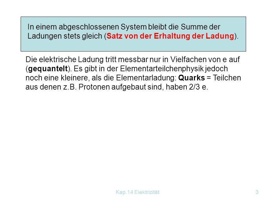 In einem abgeschlossenen System bleibt die Summe der Ladungen stets gleich (Satz von der Erhaltung der Ladung).