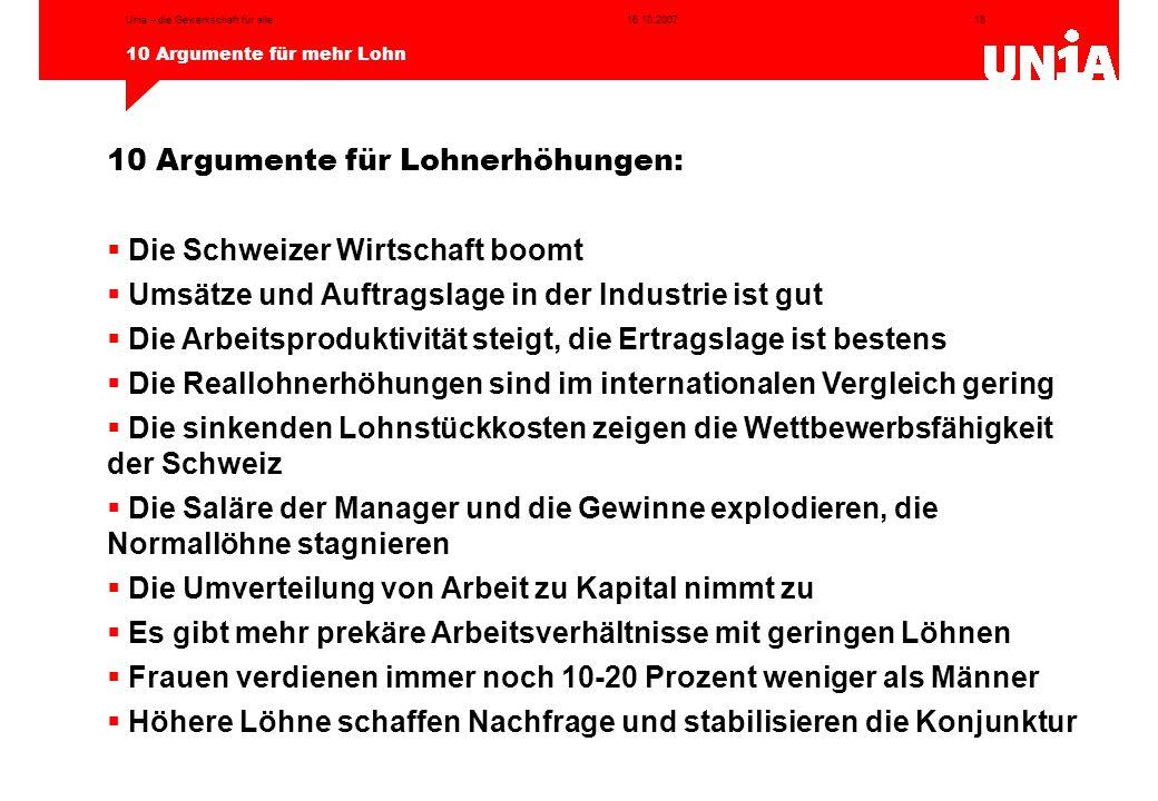 10 Argumente für Lohnerhöhungen: Die Schweizer Wirtschaft boomt