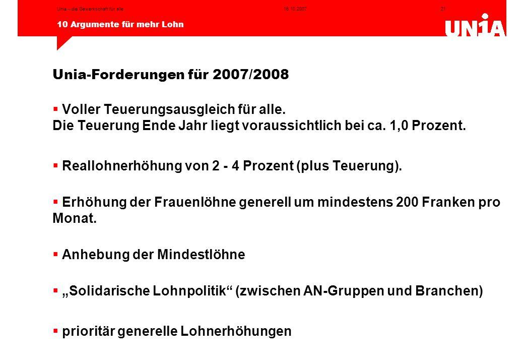 Unia-Forderungen für 2007/2008