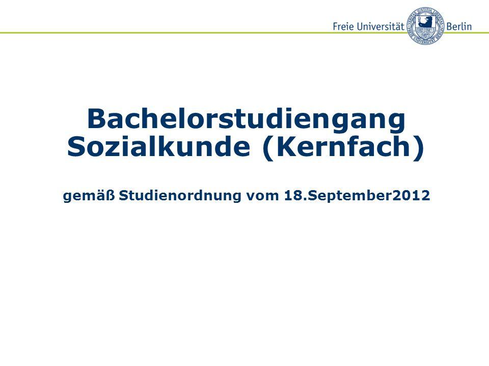 Bachelorstudiengang Sozialkunde (Kernfach) gemäß Studienordnung vom 18