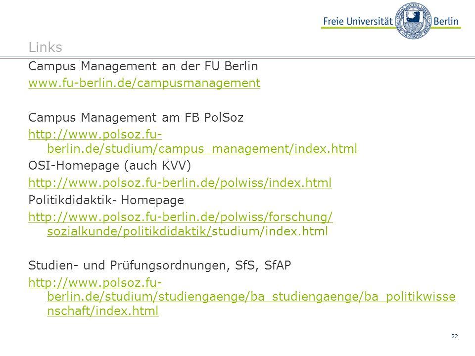 Links Campus Management an der FU Berlin