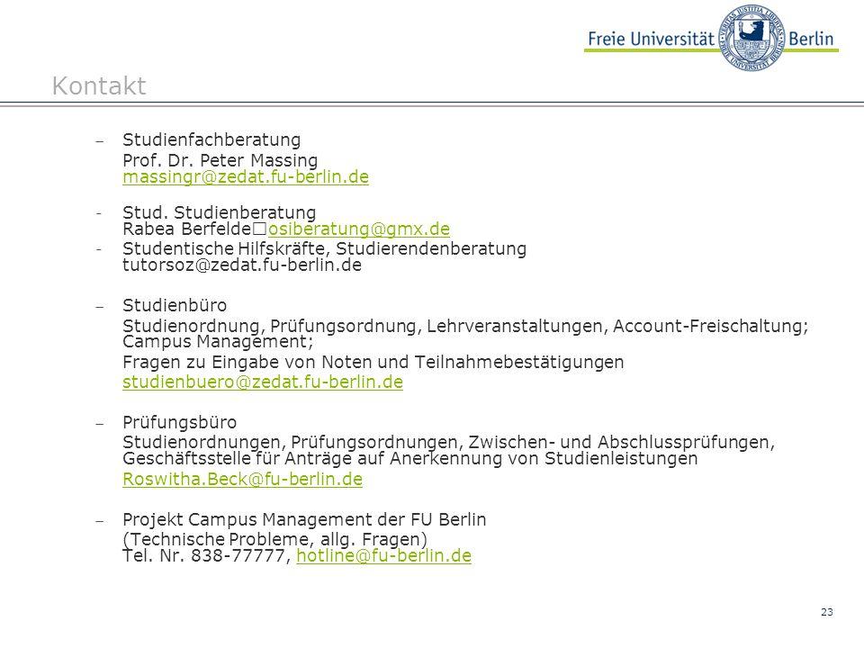 Kontakt Studienfachberatung