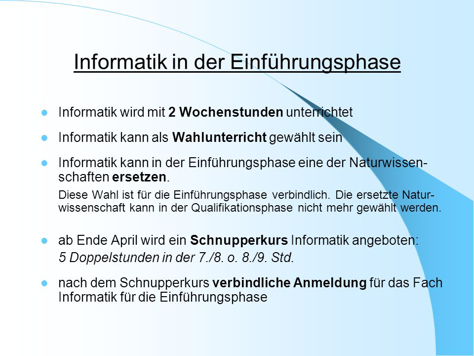 Informatik in der Einführungsphase