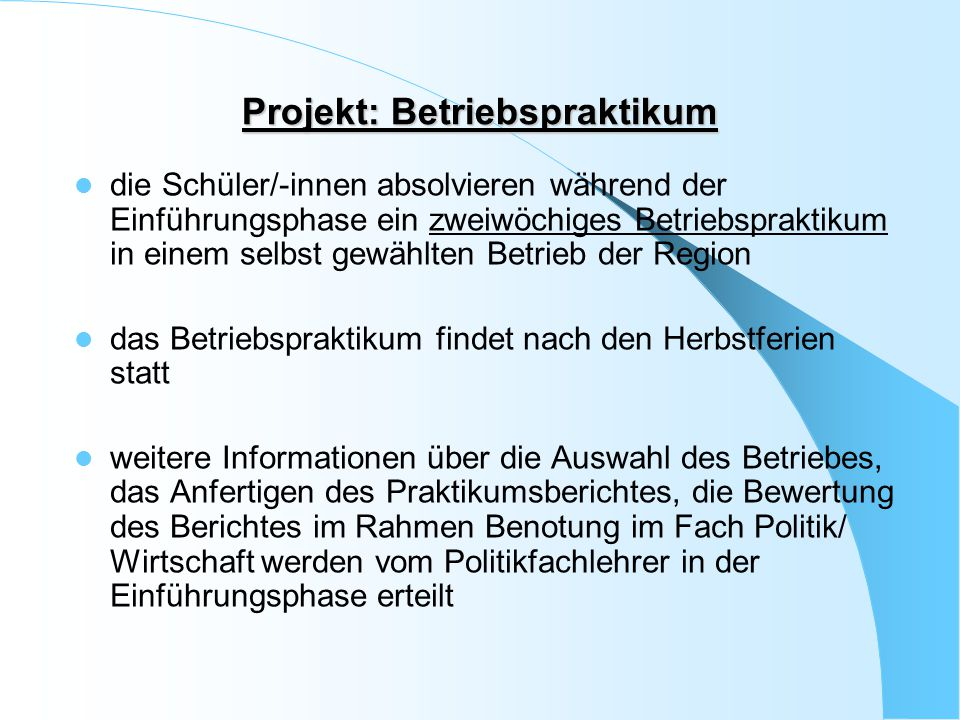 Projekt: Betriebspraktikum