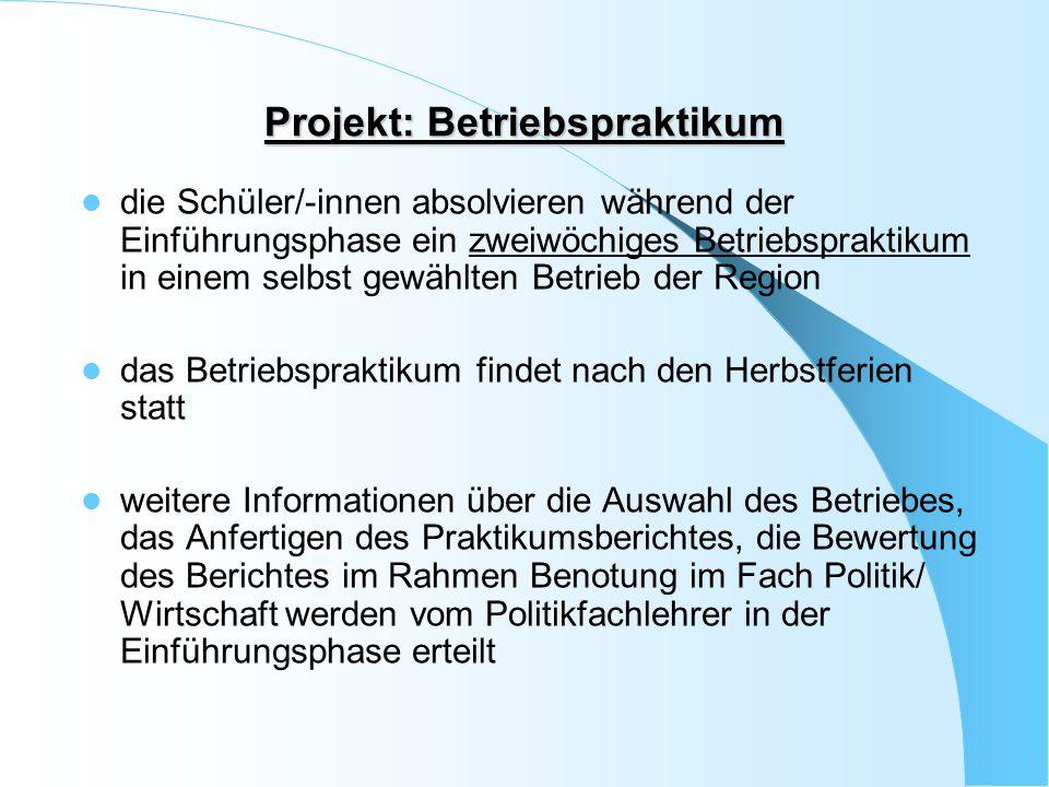 Projekt: Betriebspraktikum