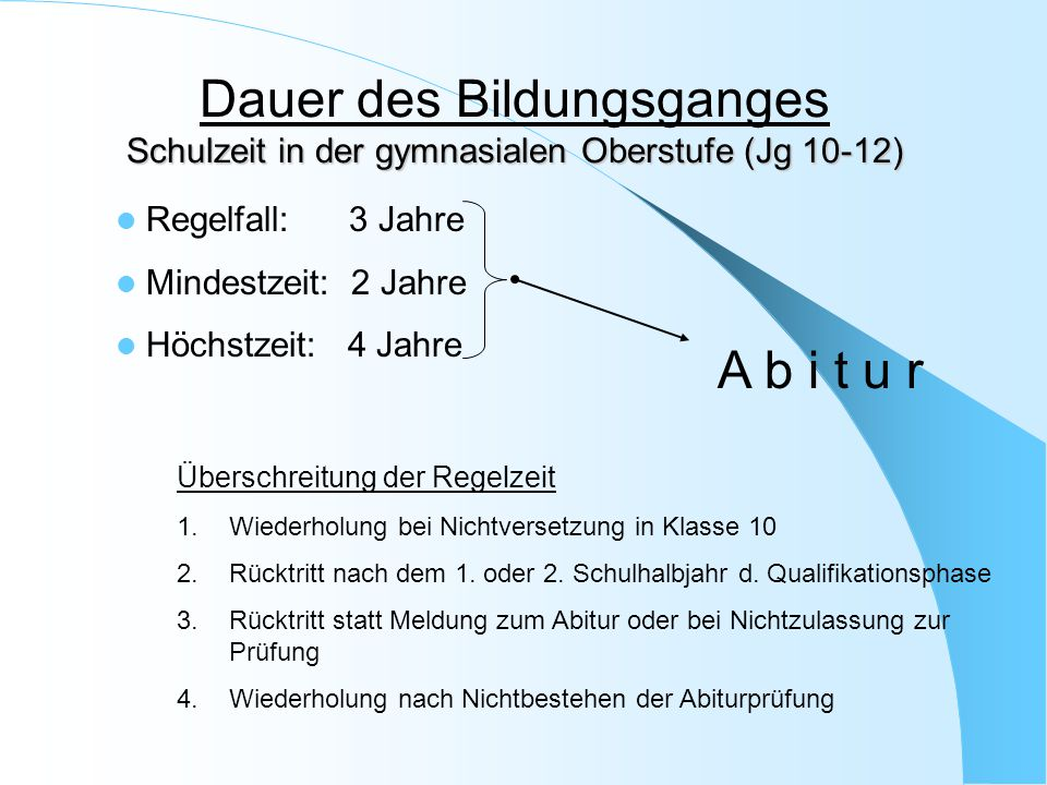 Dauer des Bildungsganges Schulzeit in der gymnasialen Oberstufe (Jg 10-12)
