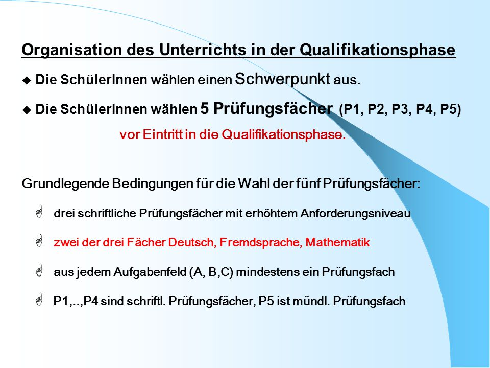 Organisation des Unterrichts in der Qualifikationsphase