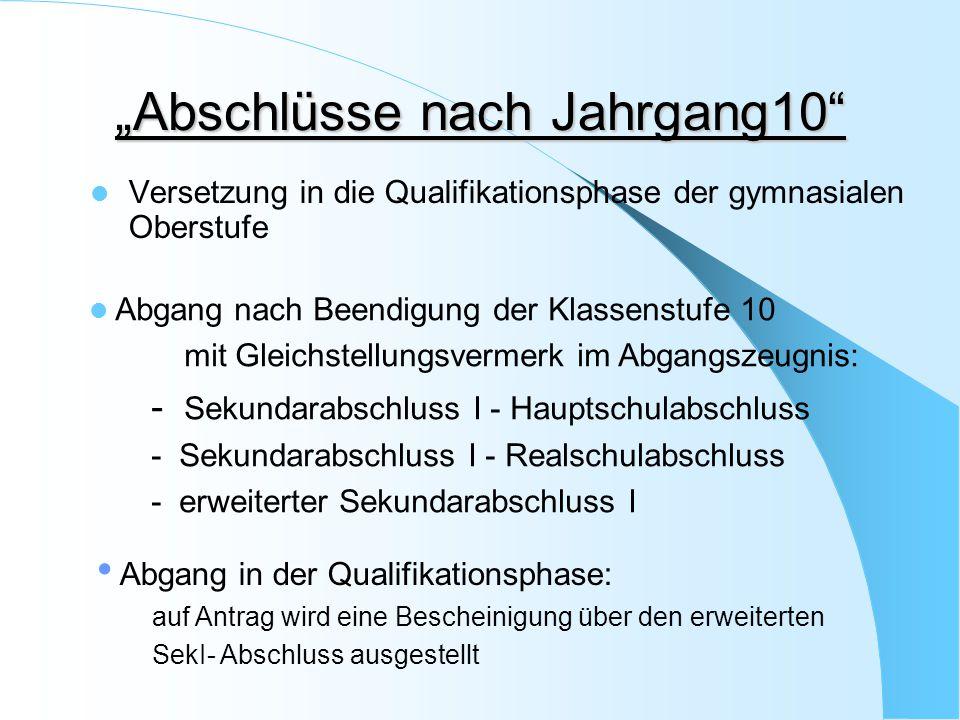 """""""Abschlüsse nach Jahrgang10"""