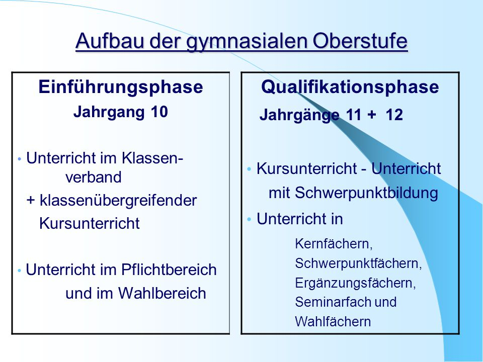 Aufbau der gymnasialen Oberstufe