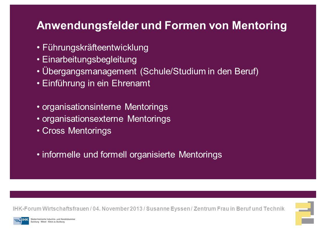 Anwendungsfelder und Formen von Mentoring
