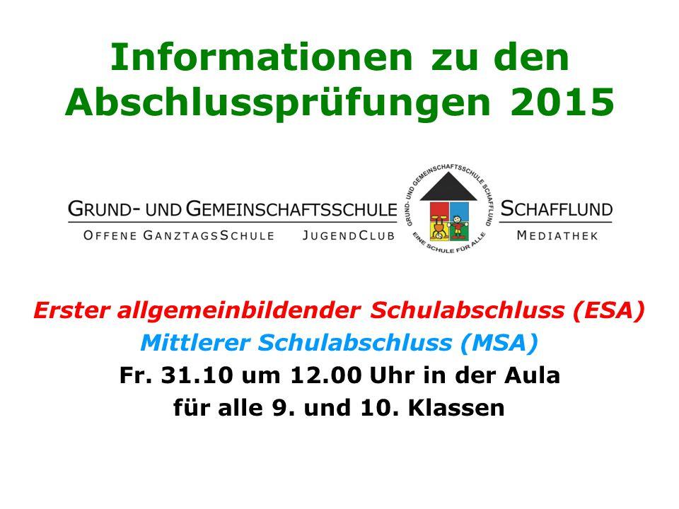 Informationen zu den Abschlussprüfungen 2015