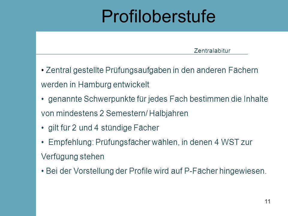 Profiloberstufe Zentralabitur. Zentral gestellte Prüfungsaufgaben in den anderen Fächern werden in Hamburg entwickelt.