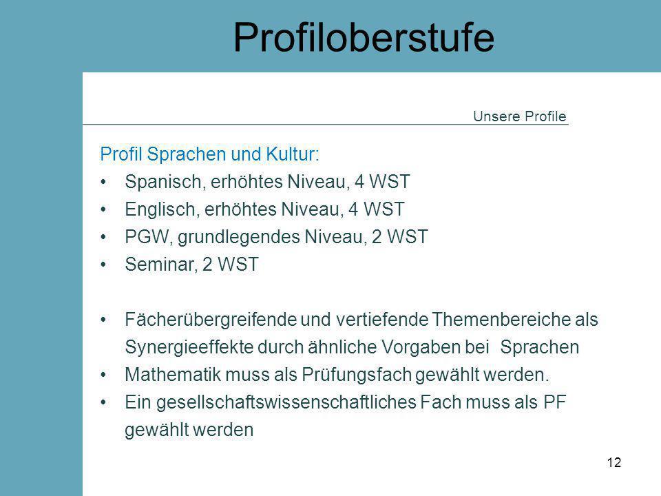 Profiloberstufe Profil Sprachen und Kultur: