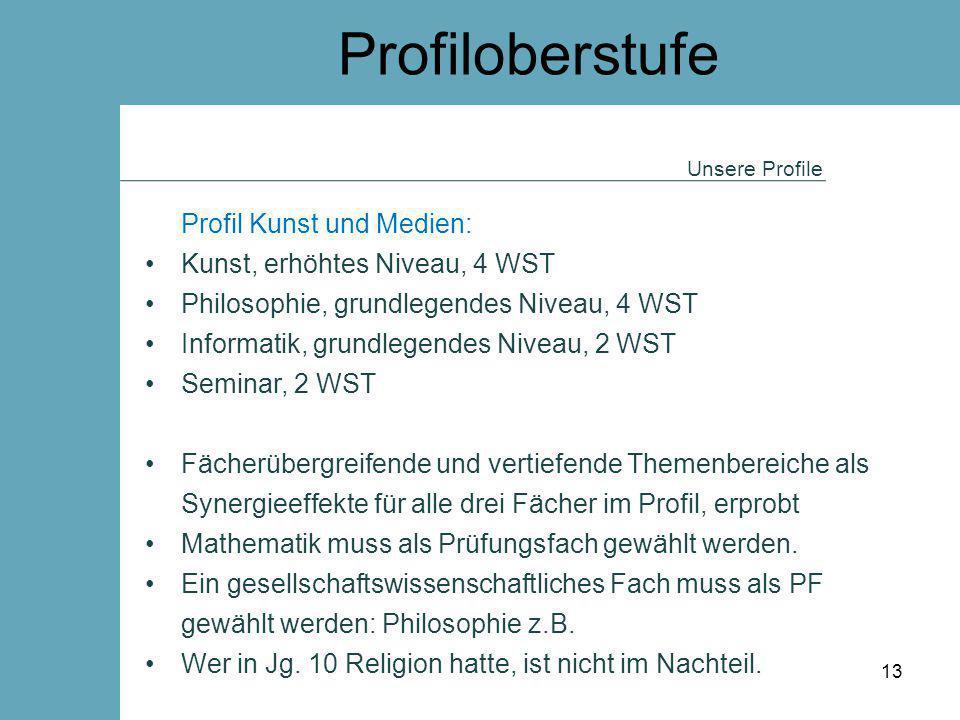 Profiloberstufe Profil Kunst und Medien: Kunst, erhöhtes Niveau, 4 WST