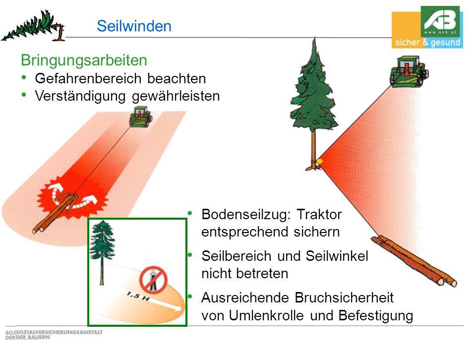 Seilwinden Bringungsarbeiten Gefahrenbereich beachten