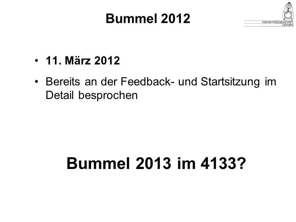 Bummel 2012 11. März 2012. Bereits an der Feedback- und Startsitzung im Detail besprochen.