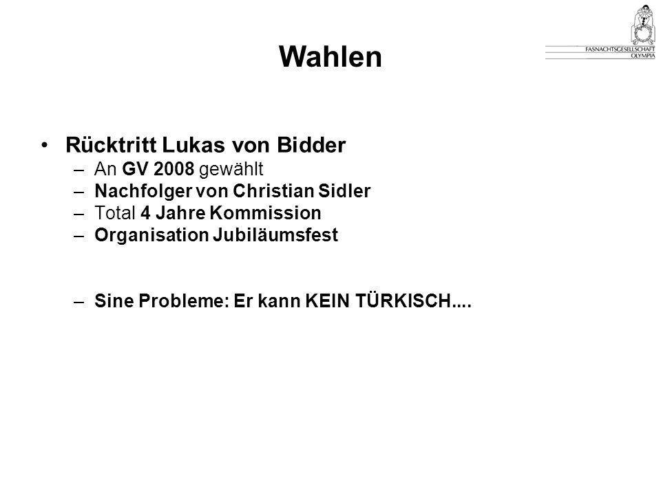 Wahlen Rücktritt Lukas von Bidder An GV 2008 gewählt